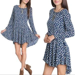 Umgee Long Sleeve Floral Dress High Low Size M